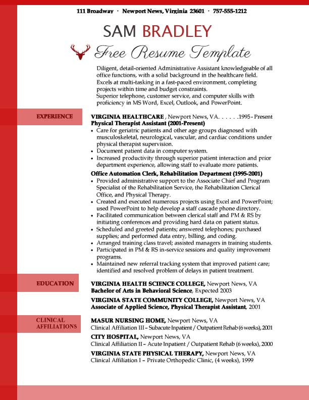 administrative assistant resume templates free sample template pdf word 2003