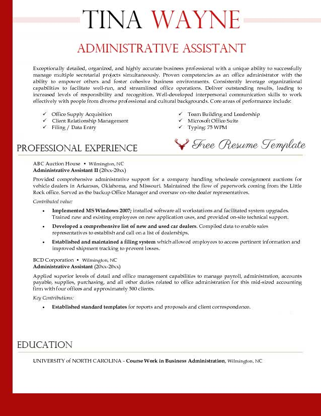 administrative assistant resume template templates executive word free 2010 sample