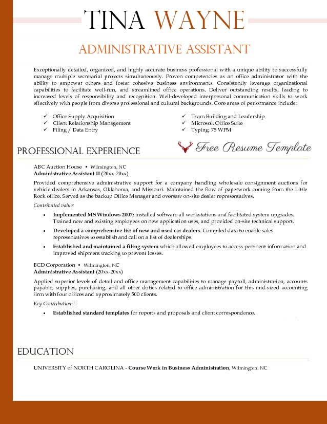 administrative assistant resume template  u22c6 resume templates