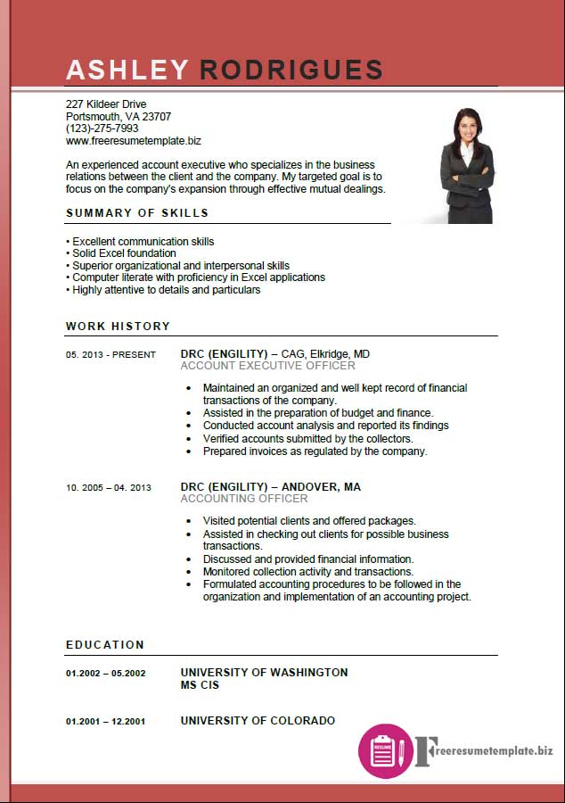 Account Executive Resume Template Free Resume - Management resume templates free