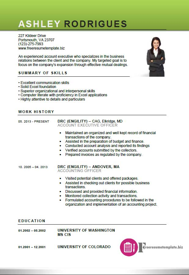 Account executive resume template free resume for Executive cv