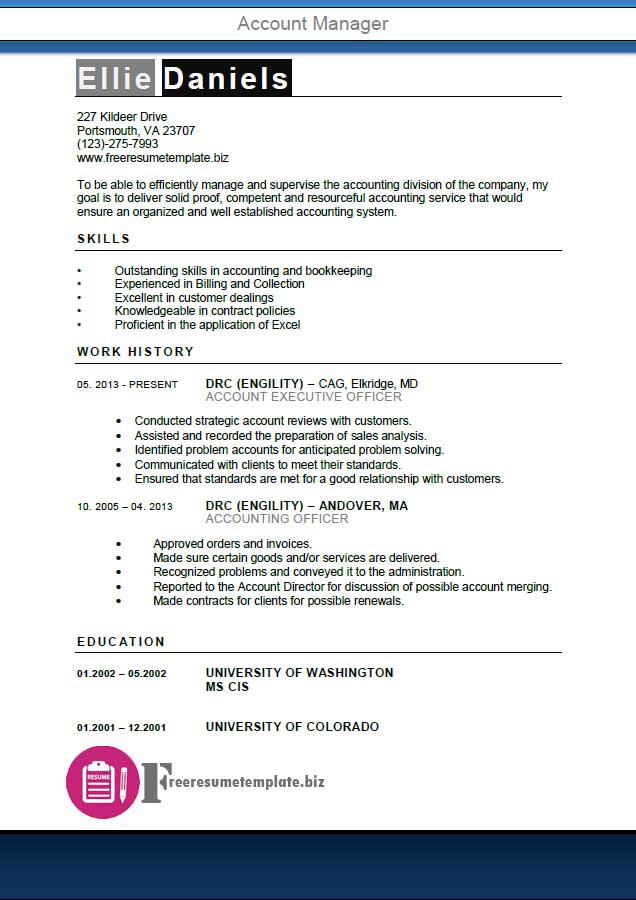 Account Manager Resume Template ⋆ Get the job!