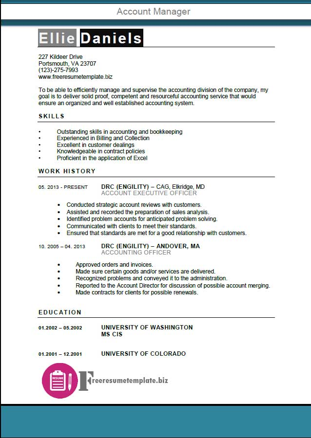 account manager resume template get the job