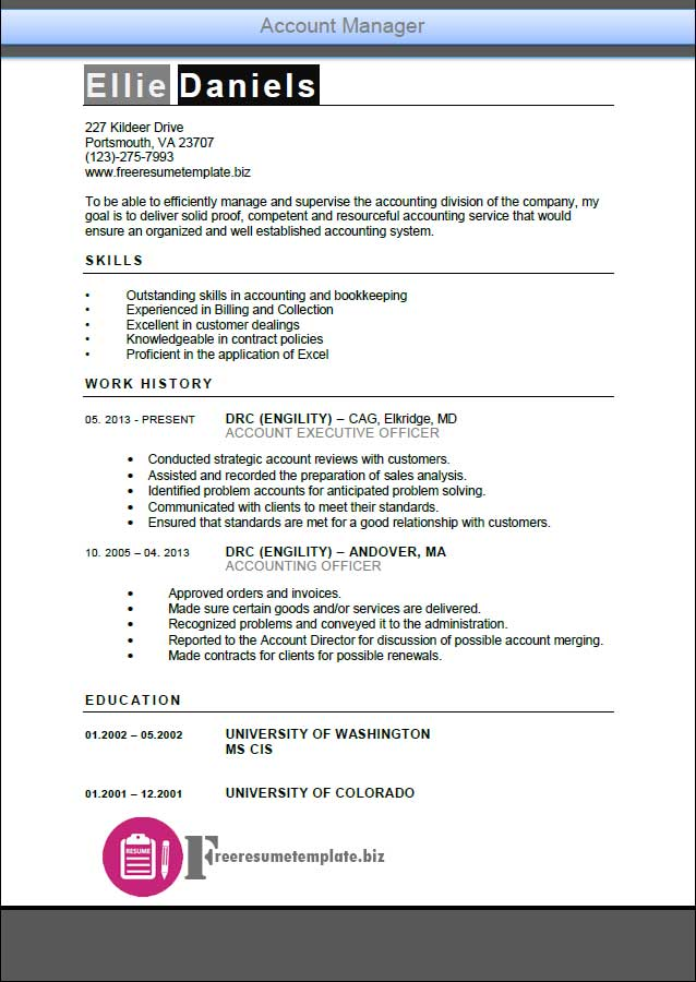 account manager resume template  u22c6 get the job