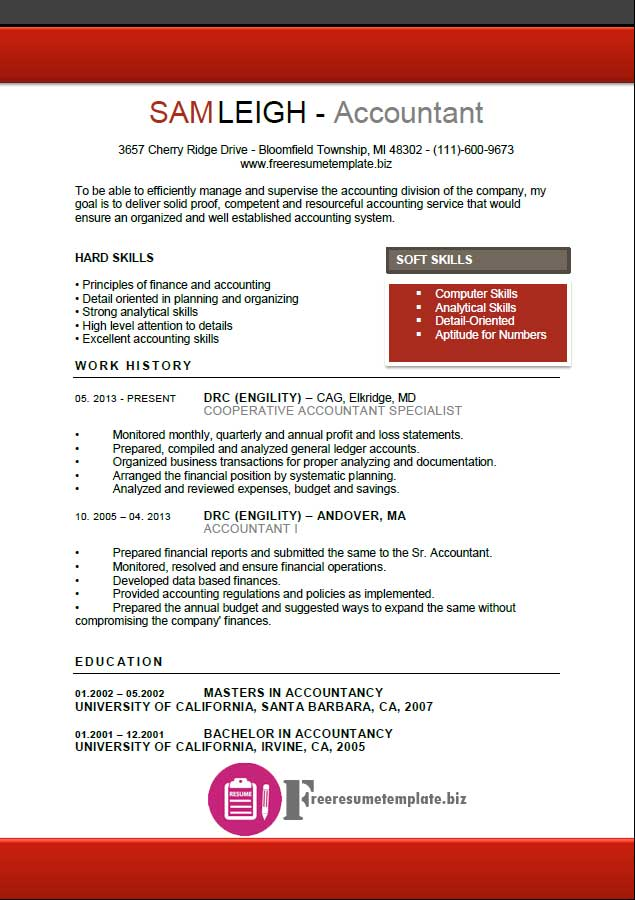 accountant resume template Archives ⋆ Free Resume Templates
