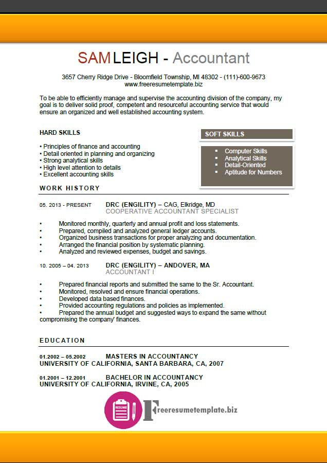 Free Resume Templates Accounting. Accounting Resume Template 11