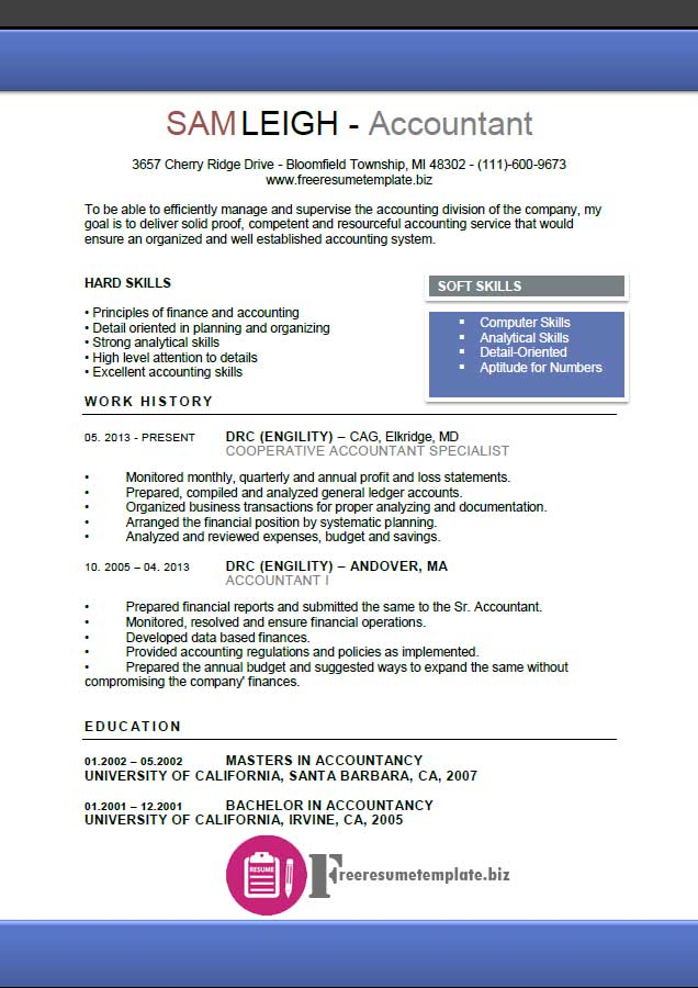 Accountant Resume Template Free Resume Templates