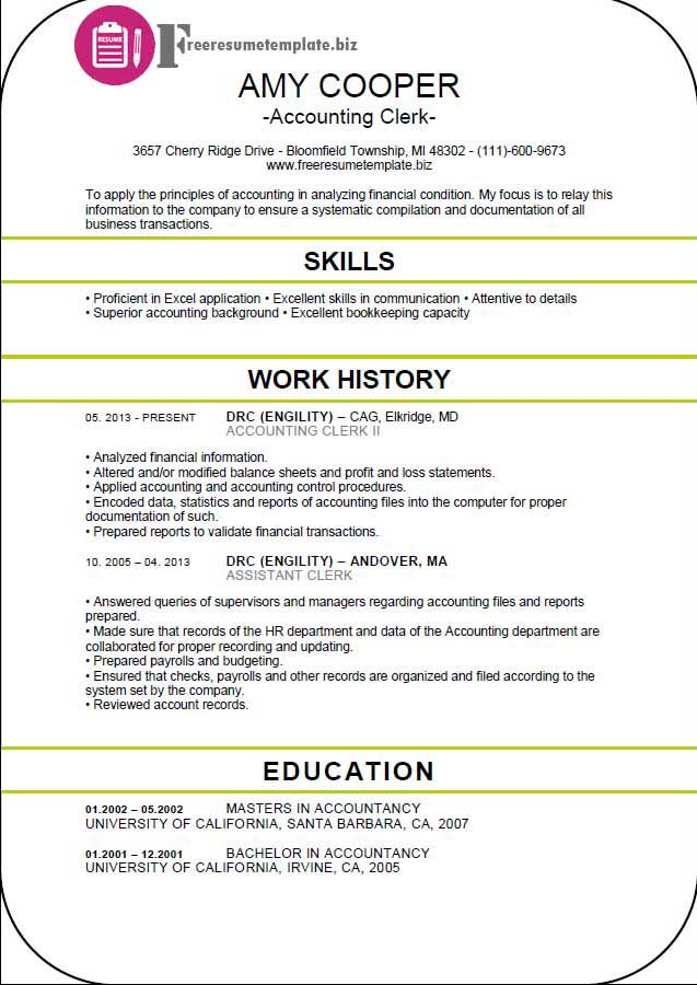 accounting clerk resume template free resume templates - Accounting Clerk Resume