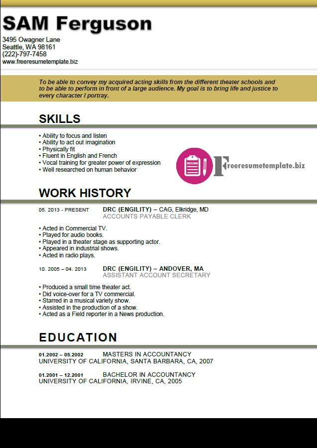 Actor resume template free resume templates for Actors cv template free