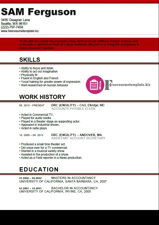 actor resume template 4