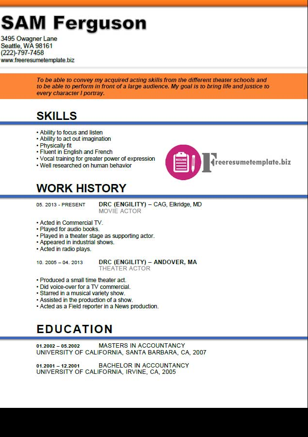 actors cv template free actor resume template free resume templates