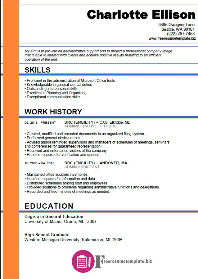 Admin Assistant Resume Template  Resume Template For Administrative Assistant