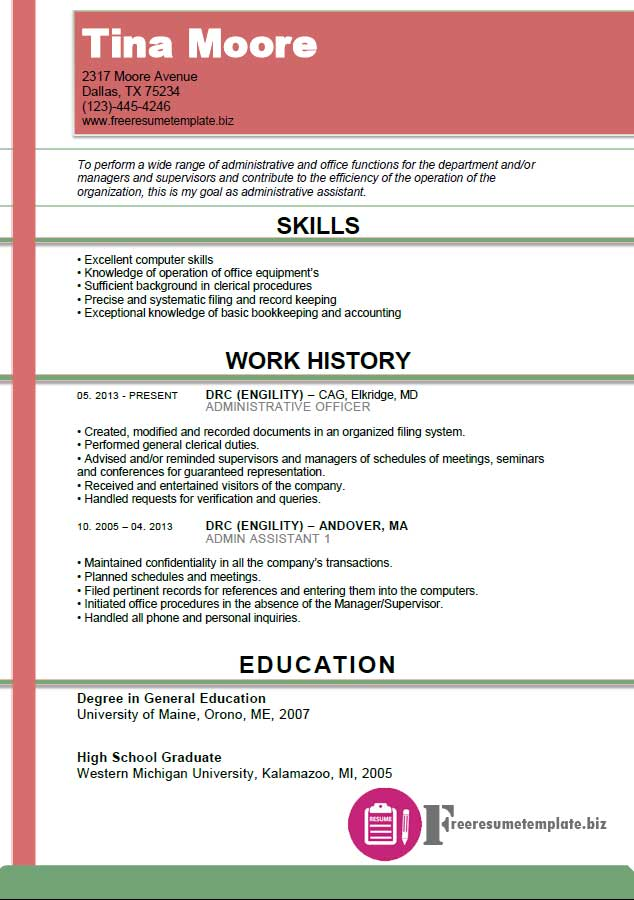 Administrative Assistant Resume Template  Download Now