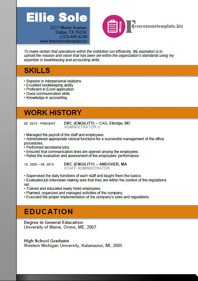 administrator resume template free resume templates