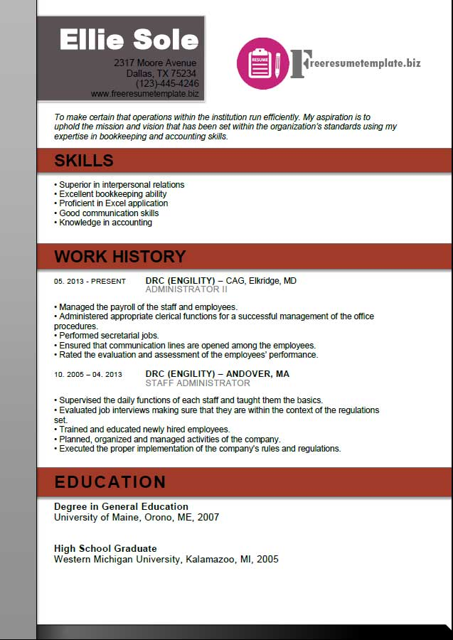 free resume template for office administrator - Office Resume Template