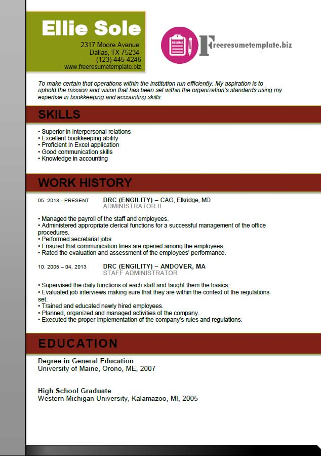 Free resume template for office managers