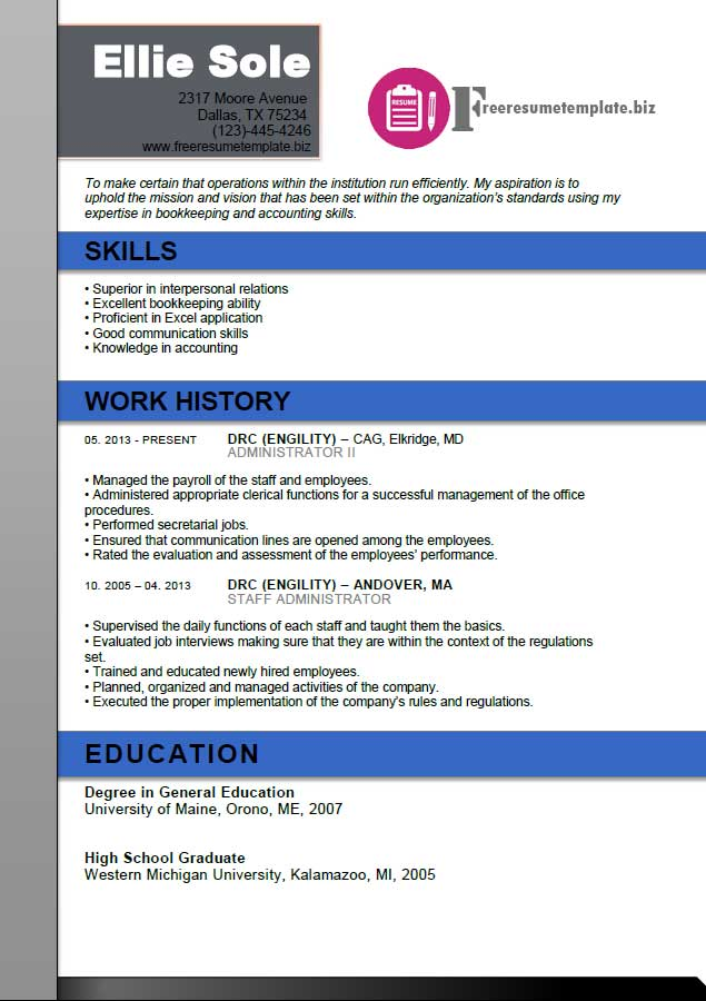 free resume template for office administrator