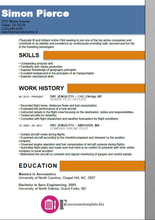 Airline Pilot Resume Template  Airline Pilot Resume