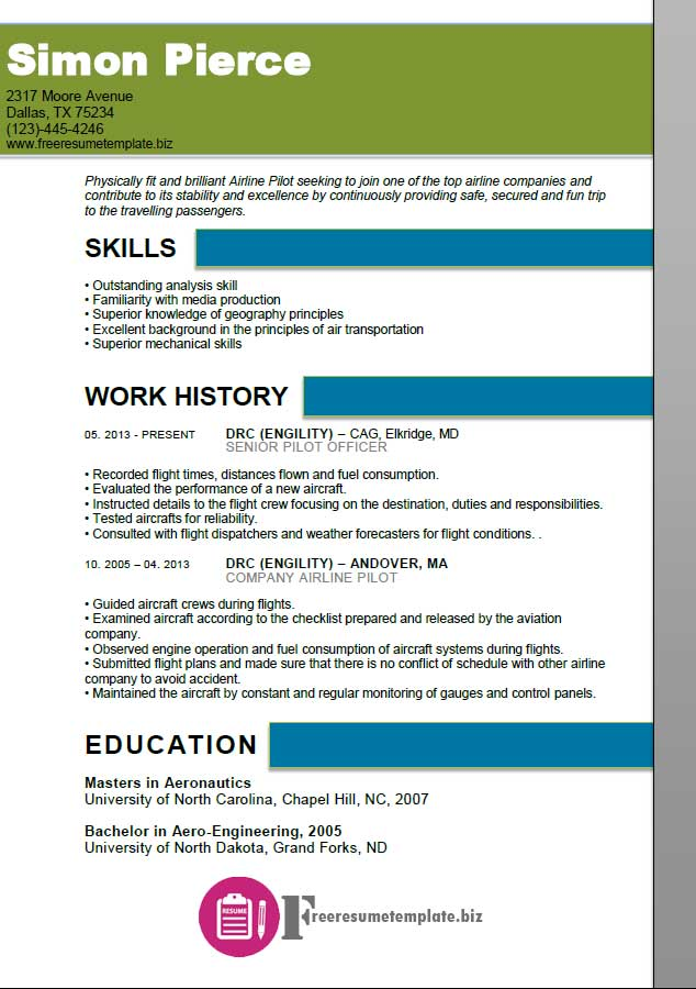 Airline Pilot Resume Template ⋆ Free Resume Templates