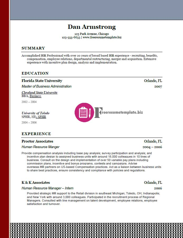 free resume templates pack 5 6 samples free resume. Black Bedroom Furniture Sets. Home Design Ideas