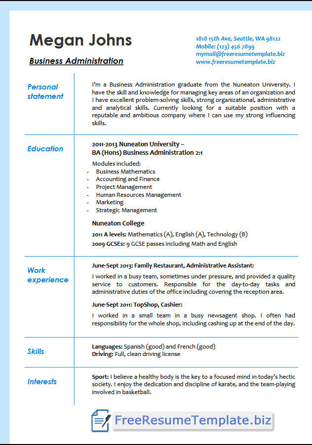 business administration resume templates  u22c6 free resume