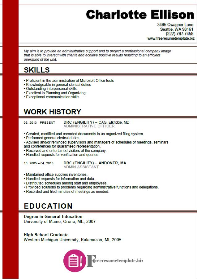 Admin Assistant Resume Template