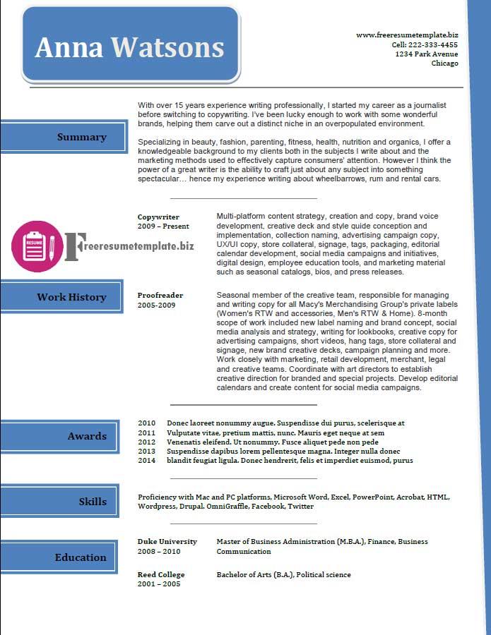 free resume template 37
