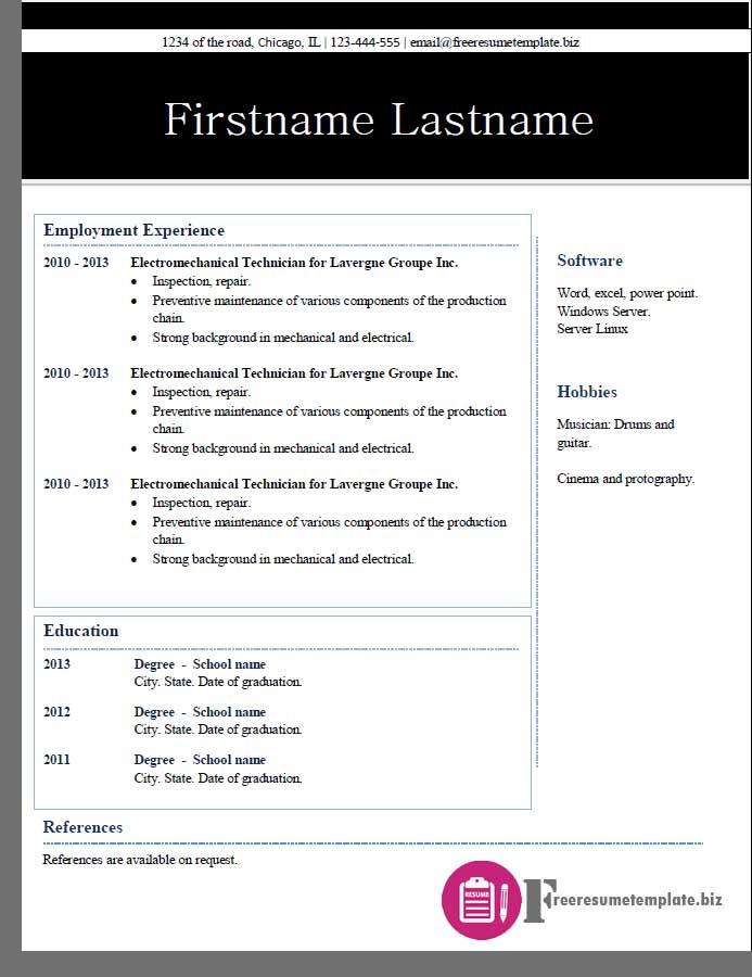 free resume template 7